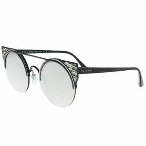 Bvlgari Round Sunglasses Grey Silver Mirrored Lens